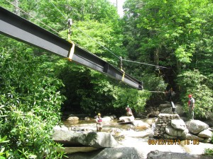 Human ingenuity and labor, not heavy equipment, were key to new bridge on Chimney Tops Trail.